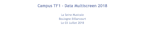 Campus TF1 - Data Multiscreen 2018 La Seine Musicale Boulogne-Billancourt Le 03 Juillet 2018